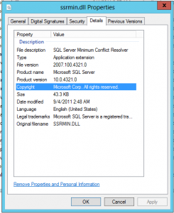 SSRMIN.DLL file properties - version showing 10.0.4321.0