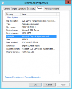 REPLREC.DLL file properties - version showing 10.50.1600.1